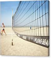 Beach Volleyball Net On The Sand At Long Beach, Ca Canvas Print