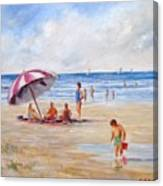 Beach With Umbrella Canvas Print