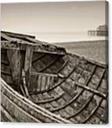 Beached At Brighton In Sepia Canvas Print