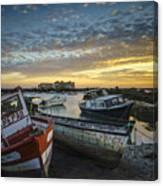 Beached Boats On Trocadero Pipe Puerto Real Cadiz Spain Canvas Print