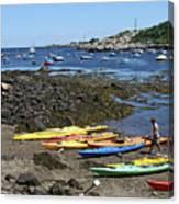 Beached Kayaks At Rockport Harbor Canvas Print