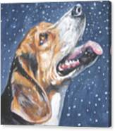 Beagle In Snow Canvas Print