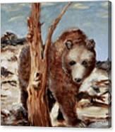 Bear And Stump Canvas Print