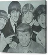 Beatles With A New Friend Canvas Print
