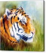 Beautiful Airbrush Painting Of A Mighty Fierce Tiger Head On A Soft Toned Abstract Gres Background  Canvas Print