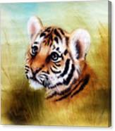 Beautiful Airbrush Painting Of An Adorable Baby Tiger Head Looking Out From A Green Grass Surroundin Canvas Print