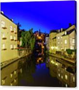 Beautiful Alzette River Side Scene On Road Rue Munster Canvas Print