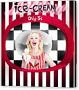 Beautiful Blonde Woman Serving Ice Cream Canvas Print