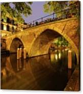 Beautiful Bridge Weesbrug Over The Old Canal In Utrecht At Dusk 220 Canvas Print