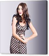 Beautiful Brunette Girl Wearing Retro Zipper Dress Canvas Print