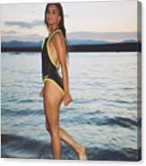 Beautiful Brunette On The Beach Canvas Print