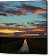 Beautiful Canal Sunset In Florida Canvas Print