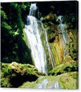 Beautiful Cascades Of Mele Falls Surrounded By Lush Foliage Canvas Print