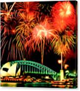 Beautiful Colorful Holiday Fireworks 2 Canvas Print