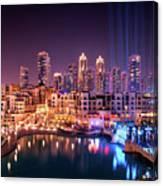 Beautiful Famous Downtown Area In Dubai At Night, Dubai, United Arab Emirates Canvas Print