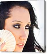 Beautiful Girl Holding A Cockle Shell Canvas Print