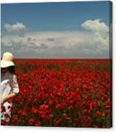 Beautiful Lady And Red Poppies Canvas Print
