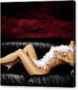 Beautiful Naked Woman On A Couch Canvas Print