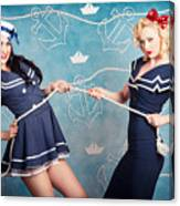 Beautiful Navy Pinup Girls On Marine Background Canvas Print