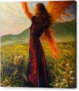 Beautiful Painting Oil On Canvas Of A Fairy Woman In A Historic Dress Standing In Rays Of Sunlight A Canvas Print