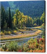 Beautiful River Bottom In Vivid Autumn Colors Canvas Print