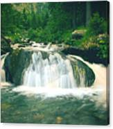 Beautiful River Flowing In Mountain Forest Canvas Print