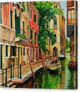 Beautiful Side Canal In Venice Canvas Print