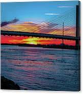 Beautiful Sunset Under The Bridge Canvas Print