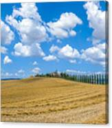 Beautiful Tuscany Landscape With Traditional Farm House And Dram Canvas Print