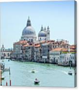 Beautiful View Of Water Street And Old Buildings In Venice, Ital Canvas Print