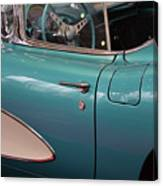 Beautiful Vintage Blue Shining Car Close Up Canvas Print