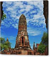 Beautiful Wat Phra Ram Temple In Ayutthaya, Thailand  Canvas Print