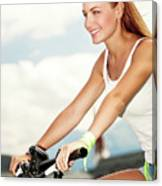 Beautiful Woman On The Bicycle Canvas Print