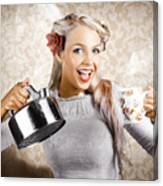 Beautiful Young Retro Woman With Cup Of Coffee Canvas Print