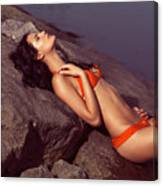 Beautiful Young Woman In Orange Bikini Canvas Print
