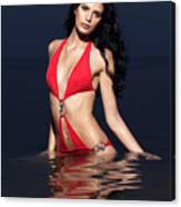 Beautiful Young Woman In Red Swimsuit Standing In Water Canvas Print