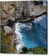 Beautifully Carved Out Swimming Deck On The Edge Of The Sea On The Amalfi Coast In Italy  Canvas Print