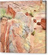 Beautifully Colored Boulders In Wash 3 - Valley Of Fire Canvas Print