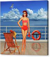 Beauty From The 50s In Bikini  Canvas Print
