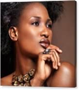 Beauty Portrait Of Black Woman Wearing Jewelry Canvas Print