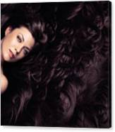 Beauty Portrait Of Woman Surrounded By Long Brown Hair  Canvas Print