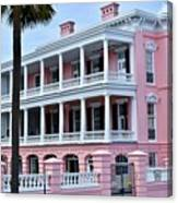 Beauutiful Pink Colonial Style Mansion Canvas Print