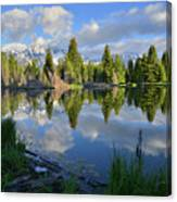 Beaver Dam Reflection In Grand Teton Np Canvas Print