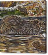 Beaver Family Animal Vignette Canvas Print