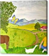 Becky And The Butterfly Canvas Print