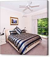 Bedroom With Silver And Blue Linen Canvas Print
