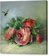 Bee And Roses On A Table Canvas Print