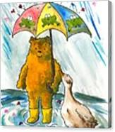 Beebs And Goosey In The Rain Canvas Print
