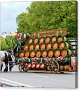 Beer Barrels On Cart Canvas Print