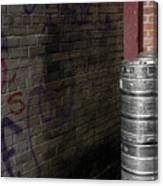 Beer Keggs And Graffiti Canvas Print